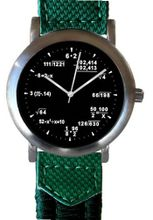 """Math Dial"" Shows Pop Quiz Equations At Each Hour Indicator on the Black Dial of the Brushed Chrome with a 2-tone Green Nylon and Leather Strap"