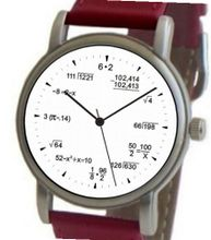 """Math Dial"" Shows Pop Quiz Equations At Each Hour Indicator on the White Dial of the Brushed Chrome with Red Leather Strap"