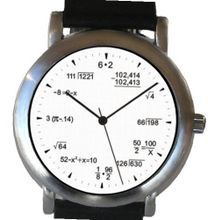 """Math Dial"" Shows Pop Quiz Equations At Each Hour Indicator on the White Dial of the Brushed Chrome with Black Leather Strap"