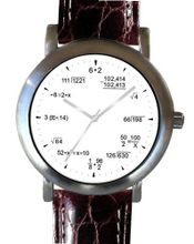 """Math Dial"" Shows Pop Quiz Equations At Each Hour Indicator on the White Dial of the Brushed Chrome with Brown Croc Design Leather White Stitched Strap"