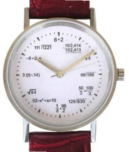 """Math Dial"" Shows Pop Quiz Equations At Each Hour Indicator on the White Dial of the Classic Round Polished Chrome with Red Leather Croc Design Strap"