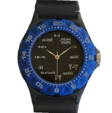 """Math Dial"" Shows Pop Quiz Math Equations At Each Hour Indicator on the Black Dial of the Black Plastic Sport with a Blue Plastic 24 Hour Turning Bezel and a Black Plastic Strap"