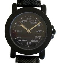 """Math Dial"" Shows Pop Quiz Math Equations At Each Hour Indicator on the Black Dial of the Matte Black Metal with Black Leather Strap, Buckle and Crown"