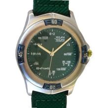 """Math Dial"" Shows Pop Quiz Math Equations At Each Hour Indicator on the Green Dial of the Brushed Chrome Sport with a Turning Elapsed Time Bezel and a 2-tone Green Nylon and Leather Strap"