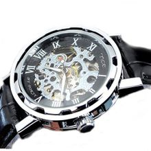 MCE Gent silver tone Case Skeleton Dial Hand-Wind Up Leather Mechanical Luxury Design --MCE041bsb