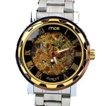 MCE Gent silver tone Case Skeleton Dial Hand-Wind Up Leather Mechanical Luxury Design --MCE061BGB