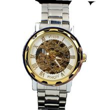 MCE Gent silver tone Case Skeleton Dial Hand-Wind Up Leather Mechanical Luxury Design --MCE062