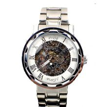 MCE Gent silver tone Case Skeleton Dial Hand-Wind Up Leather Mechanical Luxury Design --MCE063