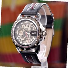 Special Design Transparent Dial Flywheel Black Band Automatic Mechanical