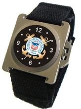 "uMilitary Time ""U.S. Coast Guard"" Emblem Satin Finish 316L Stainless Steel Case with a Black Velcro Strap"