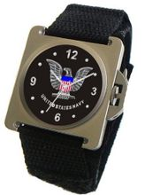 "uMilitary Time ""U.S. Navy"" Emblem Satin Finish 316L Stainless Steel Case with a Black Velcro Strap"