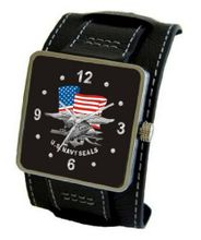 "uMilitary Time ""U.S. Navy Seals"" Emblem Satin Finish 316L Stainless Steel Three Piece Case with a Black Leather Wide Cuff Strap"