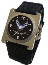 """U.S. Air Force"" Emblem Satin Finish 316L Stainless Steel Case with a Black Velcro Strap"