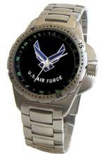 """U.S. Air Force"" Emblem Stainless Steel Sport With Elapsed Time Turning Bezel and Stainless Steel Bracelet From Military Time"