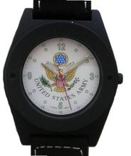 "'U.S. Army"" Black Metal Sport With Compass On Strap by Military Time"
