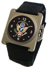 """U.S. Army"" Classic Emblem Satin Finish 316L Stainless Steel Case with a Black Velcro Strap"