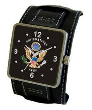 """U.S. Army"" Classic Emblem Satin Finish 316L Stainless Steel Three Piece Case with a Black Leather Wide Cuff Strap"