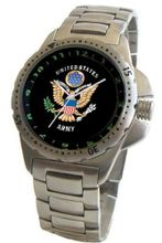 """U.S. Army"" Classic Emblem Stainless Steel Sport With Elapsed Time Turning Bezel and Stainless Steel Bracelet From Military Time"