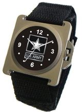 """U.S. Army"" Emblem Satin Finish 316L Stainless Steel Case with a Black Velcro Strap"