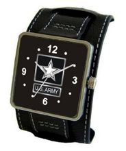 """U.S. Army"" Emblem Satin Finish 316L Stainless Steel Three Piece Case with a Black Leather Wide Cuff Strap"