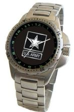 """U.S. Army"" Emblem Stainless Steel Sport With Elapsed Time Turning Bezel and Stainless Steel Bracelet From Military Time"