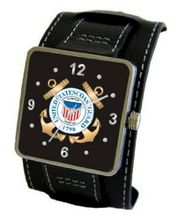 """U.S. Coast Guard"" Emblem Satin Finish 316L Stainless Steel Three Piece Case with a Black Leather Wide Cuff Strap"