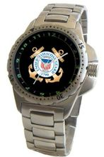 """U.S. Coast Guard"" Emblem Stainless Steel Sport With Elapsed Time Turning Bezel and Stainless Steel Bracelet From Military Time"