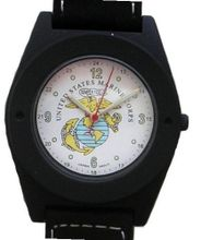 "'U.S. Marines"" Black Metal Sport With Compass On Strap by Military Time"