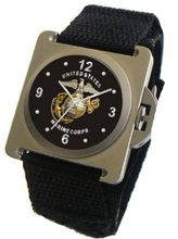 """U.S. Marines"" Emblem Satin Finish 316L Stainless Steel Case with a Black Velcro Strap"