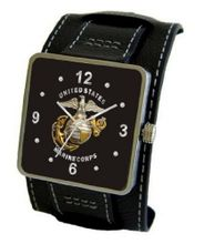 """U.S. Marines"" Emblem Satin Finish 316L Stainless Steel Three Piece Case with a Black Leather Wide Cuff Strap"