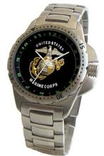 """U.S. Marines"" Emblem Stainless Steel Sport With Elapsed Time Turning Bezel and Stainless Steel Bracelet From Military Time"