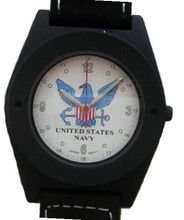 "'U.S. Navy"" Black Metal Sport With Compass On Strap by Military Time"