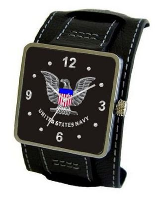 """U.S. Navy"" Emblem Satin Finish 316L Stainless Steel Three Piece Case with a Black Leather Wide Cuff Strap"