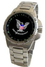 """U.S. Navy"" Emblem Stainless Steel Sport With Elapsed Time Turning Bezel and Stainless Steel Bracelet From Military Time"