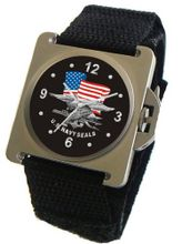 """U.S. Navy Seals"" Emblem Satin Finish 316L Stainless Steel Case with a Black Velcro Strap"