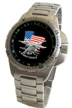 """U.S. Navy Seals"" Emblem Stainless Steel Sport With Elapsed Time Turning Bezel and Stainless Steel Bracelet From Military Time"