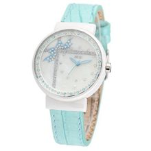 MINI new ceramic / Korean white ceramic / import leather strap Blue