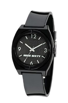 Miss Sixty Ladies Stu004 In Collection Vintage, 3 H and S, Black & White Dial and Black Strap
