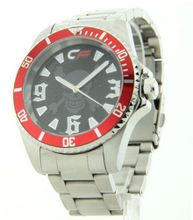 Cage Fighter Silver Stainless Steel Red Rotating Bezel Cf332015ssrd