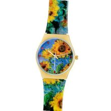 Fashion for  Bracelet Quartz 18k Gold Overlay Monet Sunflower Design