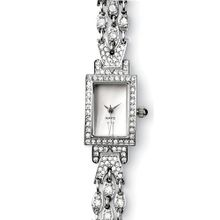 Faux Diamond Look Bracelet Made of Rhinestone Crystals Reproduction of Art Deco Design