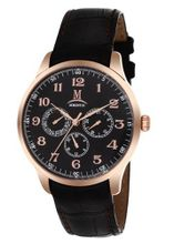 Momentus Black Leather Band & Dial Rose Gold Bezel Chron FD240R-04BR