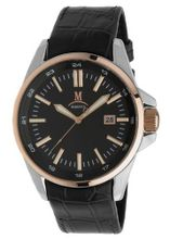 Momentus Black Leather Band Rose Gold Ion Plated Bezel FD220S-04BR
