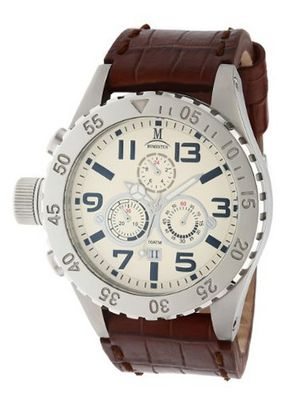 Momentus Brown Leather Band Plated Bezel Chronograph TM246S-08BS