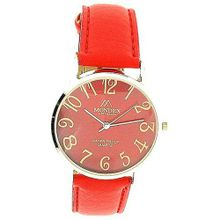 Mondex London Ladies Red Dial Gold Tone Case Bright Red PU Strap MDX12