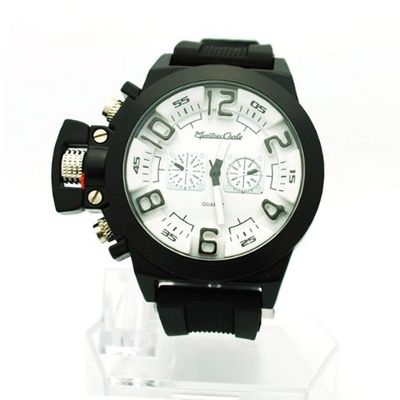 Black and White Silicon Band Sporty Designer Fashion with Faux Chronograph