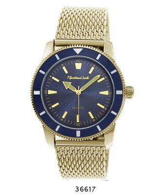 uMontres Carlo Gold Mesh Band with Blue Case Blue Dial