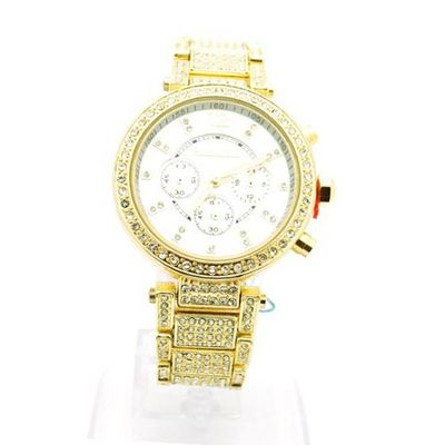 uMontres Carlo Gold Rhinestone Iced Out Rhinestone Studded Stainless Steel Metal for