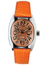 Montres De Luxe BI3 ARA Bisanzio Stainless Steel Luminous Orange Leather Date