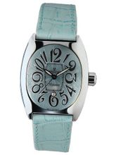 Montres De Luxe BI3 AZZ Bisanzio Stainless Steel Luminous Aqua Blue Leather Date